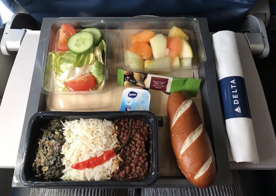 De vegan maaltijd op een Delta-vlucht