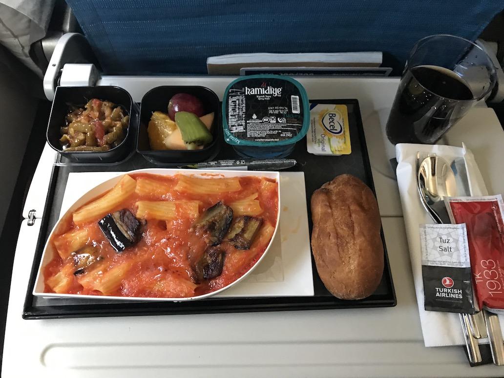 De vegan maaltijd op een Turkish Airlines vlucht