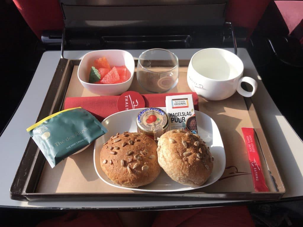 De maaltijd aan boord van de Thalys 1e klas Premium naar Parijs