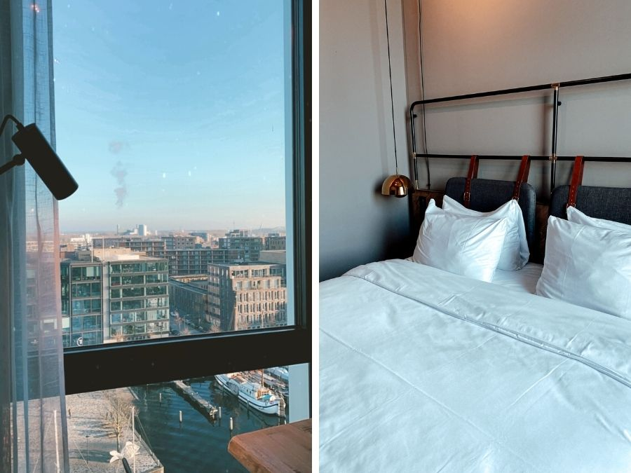 Hotelkamer en uitzicht in het 4 Elements Hotel Amsterdam