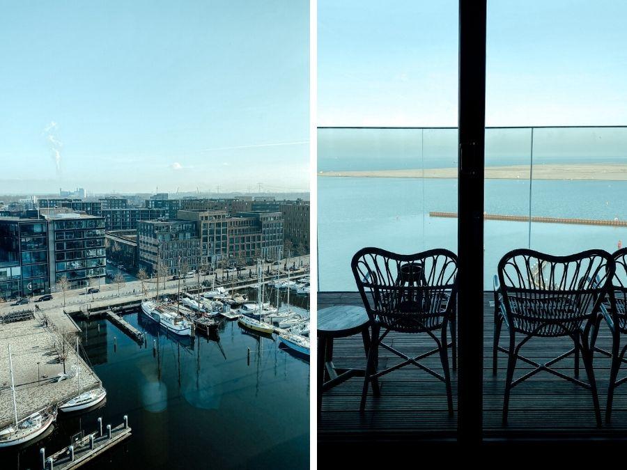 Uitzicht vanaf de Wind Sky bar in het 4 Elements Hotel Amsterdam