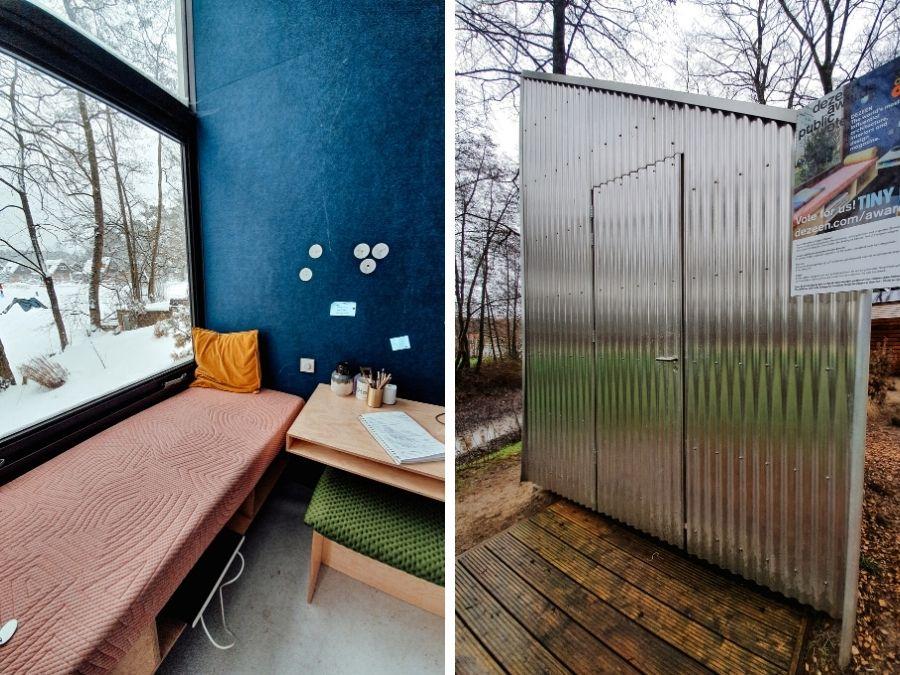 De tiny office van Droomparken tijdens een workation in een tiny house op de Veluwe