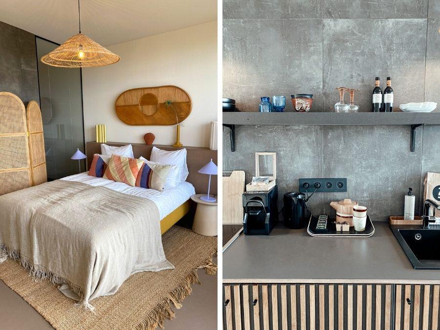 De keuken en slaapkamer van Strandhotel Zoomers