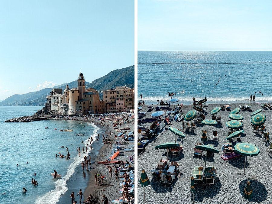 Het strand van Camogli, Italië