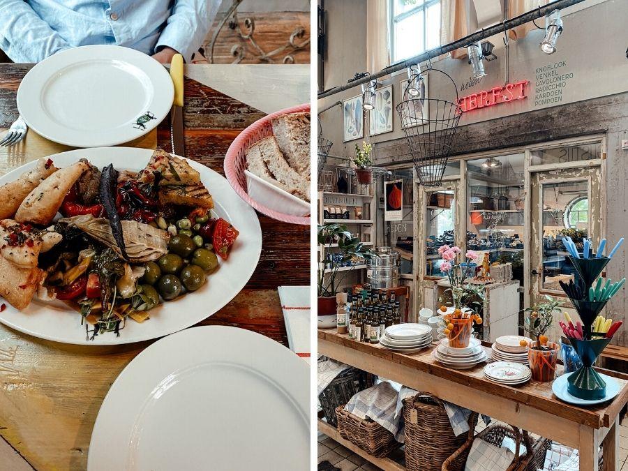 Eten in het restaurant en winkel van Villa Augustus in Dordrecht